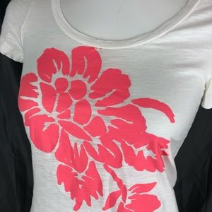 J. Crew Tops - J Crew Graphic T shirt Small White Pink Graphic